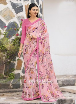 Floral Print Casual Saree in Light Pink