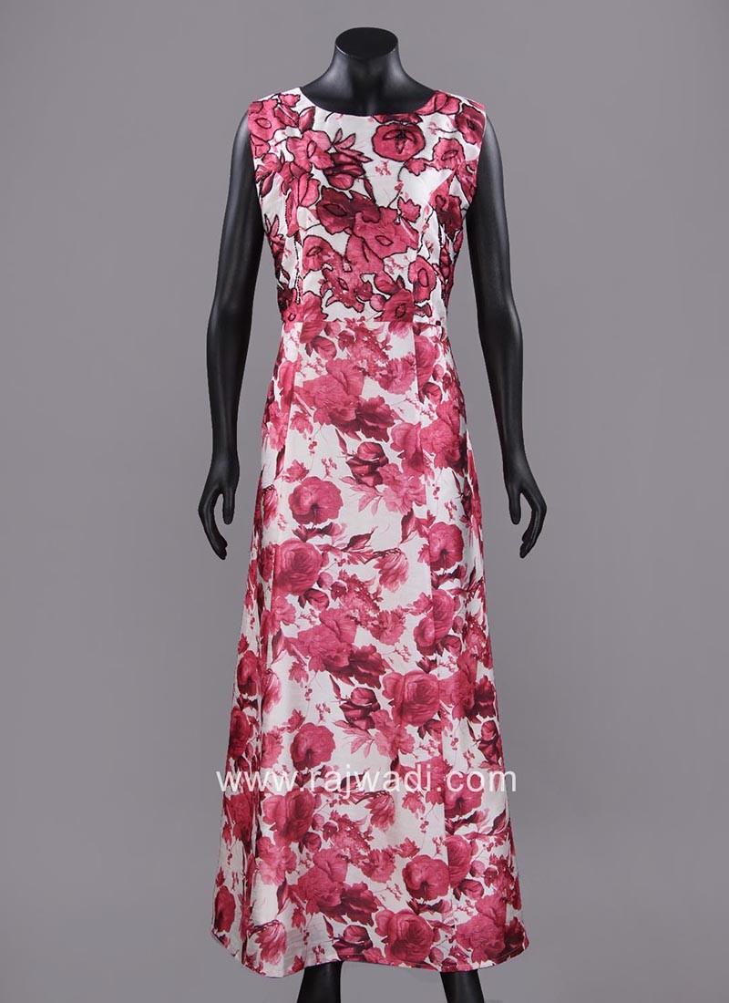 Floral Print Long Art Silk Kurti