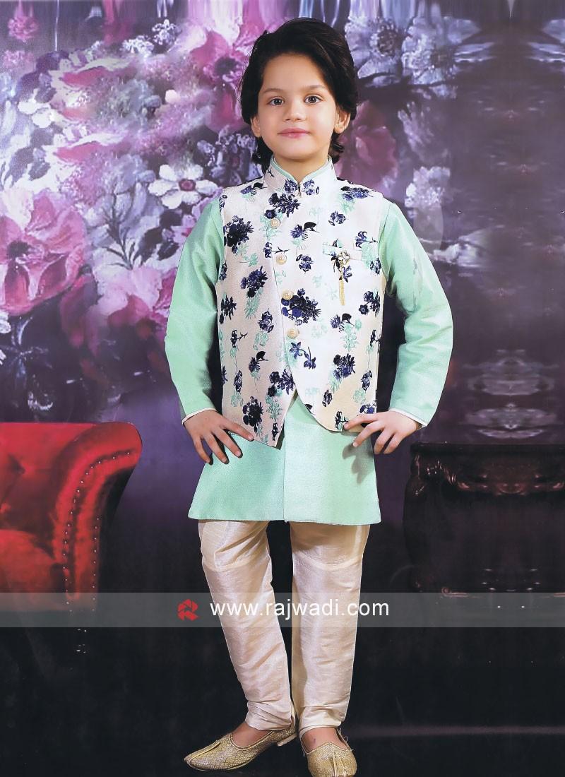 Floral Print Nehru Jacket For Boys