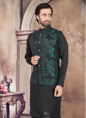 Floral Printed Black Nehru Jacket Set
