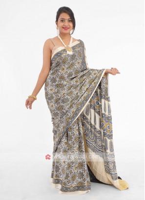 Floral Printed Gajji Silk Saree