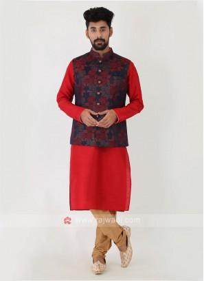 Floral Printed Navy Blue Nehru Jacket Set