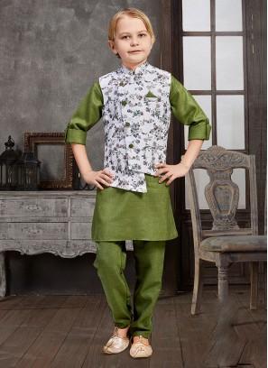 Floral Printed Nehru Jacket Set For Boys