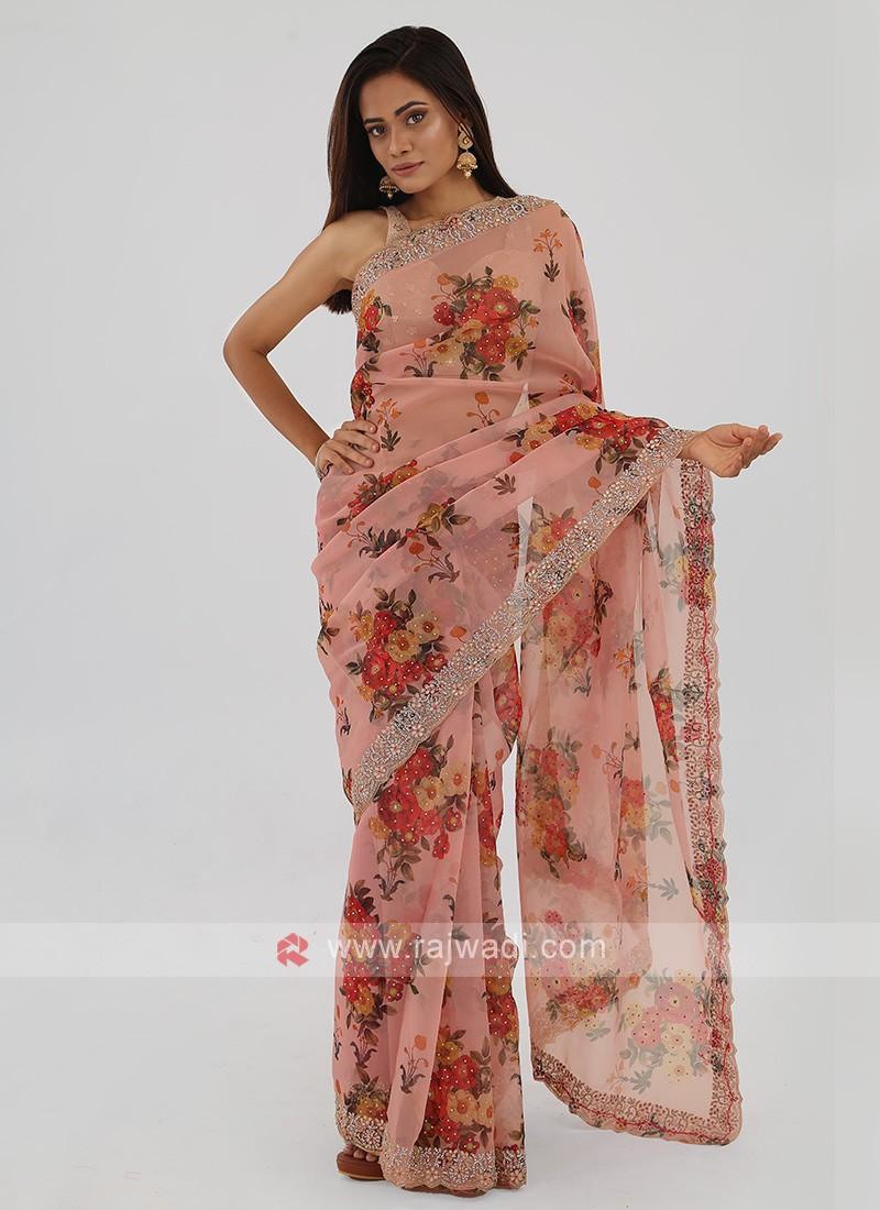 Floral Printed Organza Saree