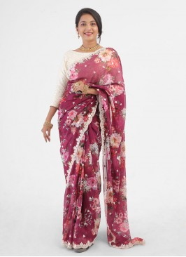 Floral Printed Organza Saree In Mulberry Color