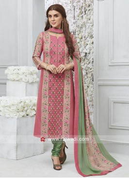 Floral Printed Salwar Suit in Hot Pink