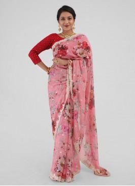 Floral Printed Saree In Light Peach