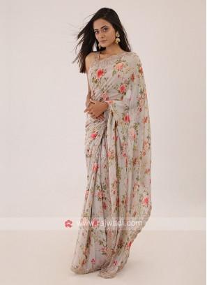 Floral Printed Saree In Light Pista