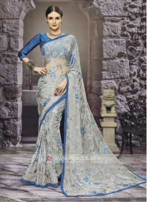 Floral Printed Sky Blue Saree