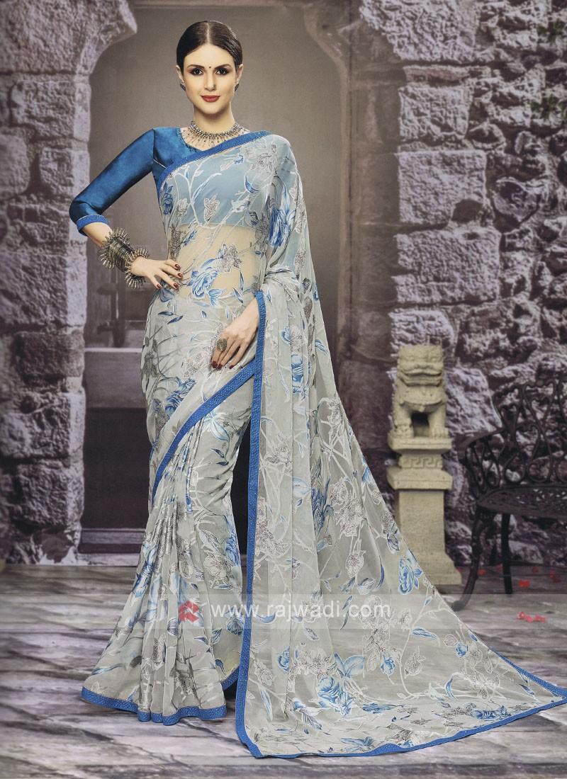 Floral Printed Sky Blue Saree