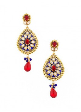 Floral Red Drop Earrings