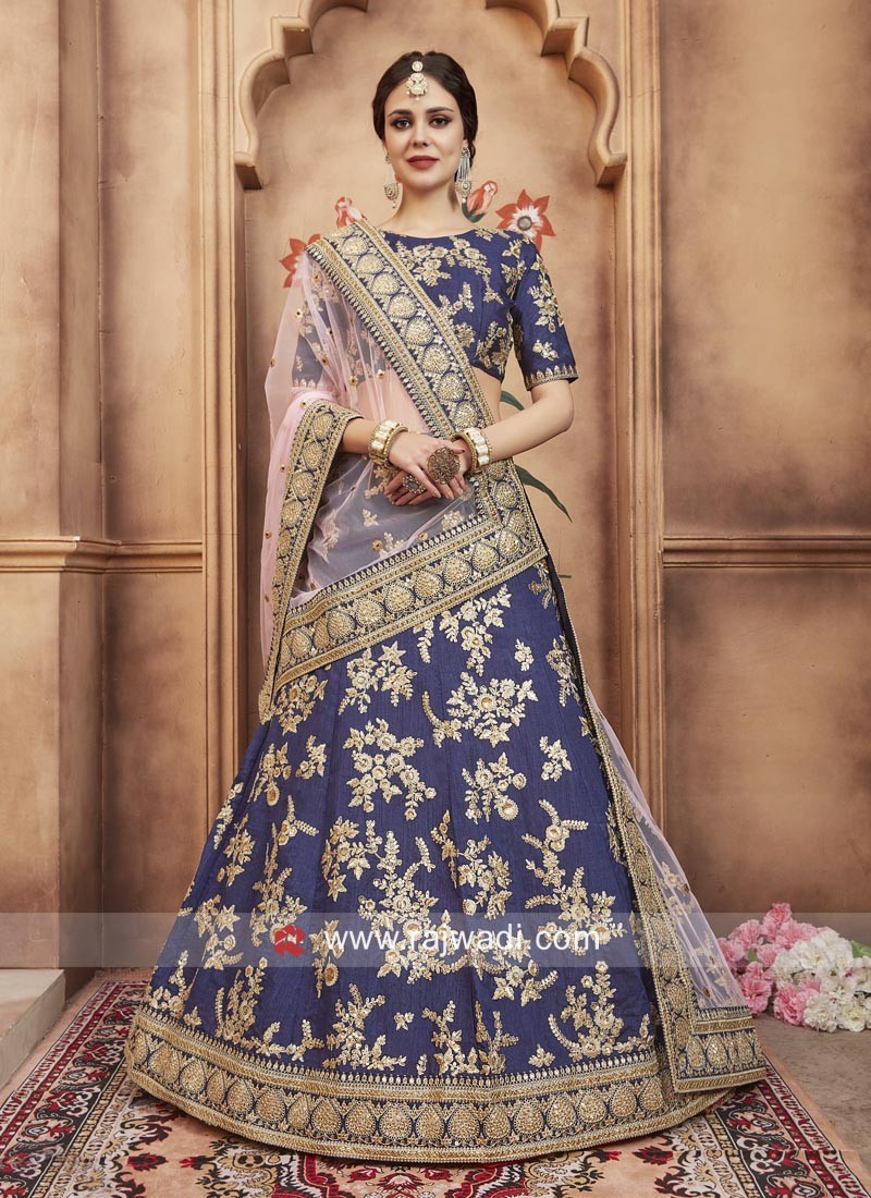 Floral Work Lehenga Choli in Navy Blue