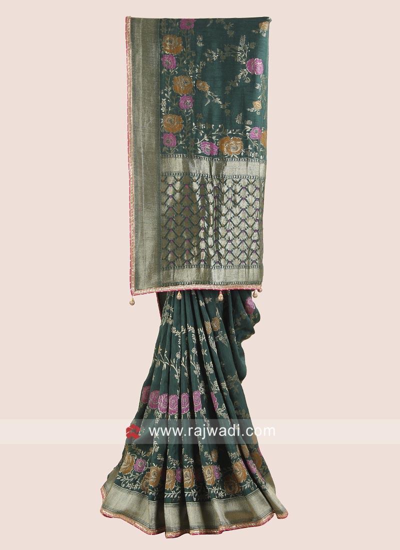Flower Embroidered Banarasi Silk Saree