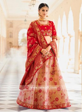 Flower Embroidered Brocade Lehenga Choli