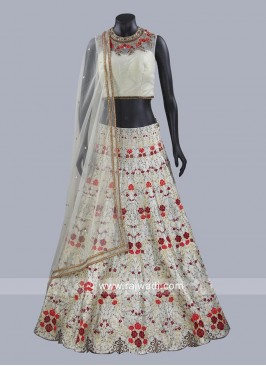 Flower Embroidered Choli Suit