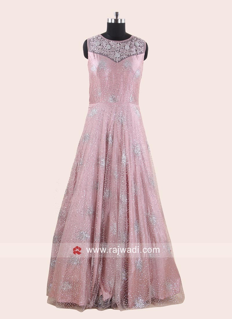 Flower Embroidered Floor Length Gown