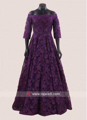 Flower Embroidered Floor Length Off Shoulder Gown