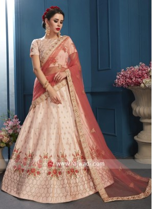 Flower Embroidered Lehenga in Peach