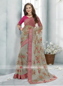 Flower Embroidered Net Saree