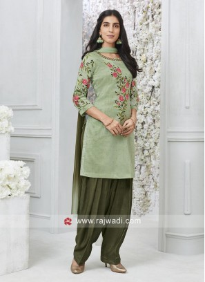 Flower Embroidered Patiala Suit