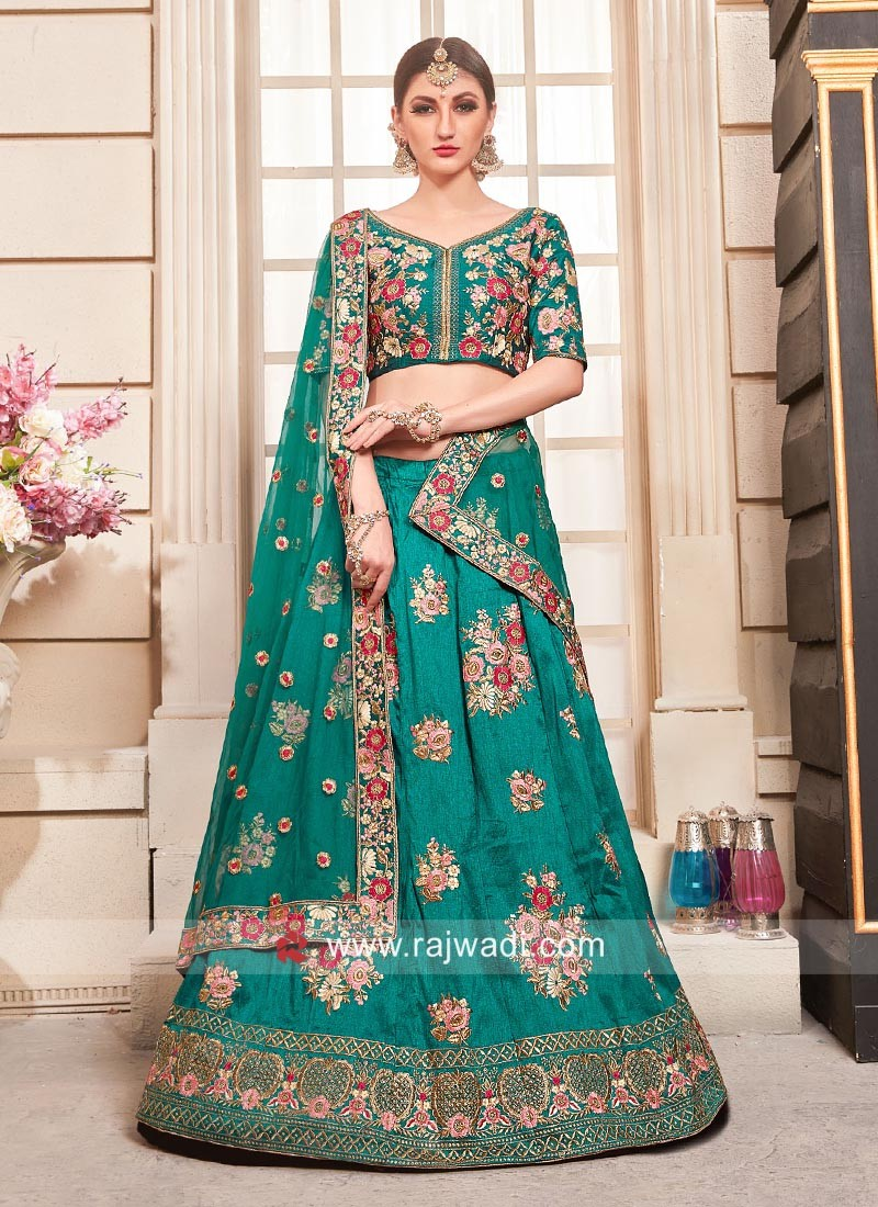 Flower Embroidered Silk Lehenga