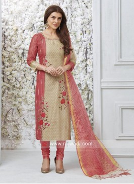 Flower Embroidered Straight Fit Salwar Suit