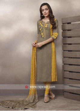 Flower Embroidery Cotton Salwar Suit
