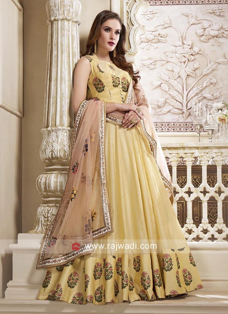 Flower Embroidery Floor Length Anarkali Dress