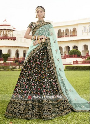 Flower Embroidery Heavy Lehenga in Bottle Green