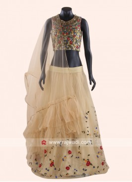 Flower Embroidery Lehenga Set in Golden