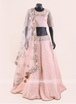 Flower Embroidery Light Peach Chiffon Lehenga Set