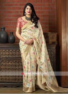 Flower Motifs Banarasi Silk Saree