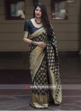 Flower Motifs Black Sari with Blouse