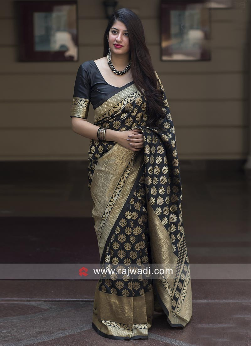 Flower Motifs Black Sari with Blouse