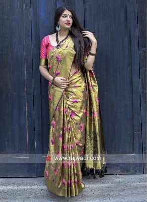 Flower Motifs Olive Sari with Contrast Blouse