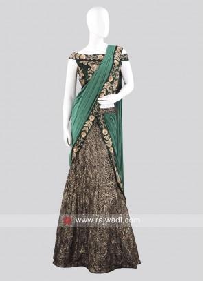 Flower Net Designer Lehenga Saree