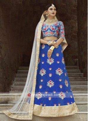 Flower Patch Embroidery Lehenga in Blue
