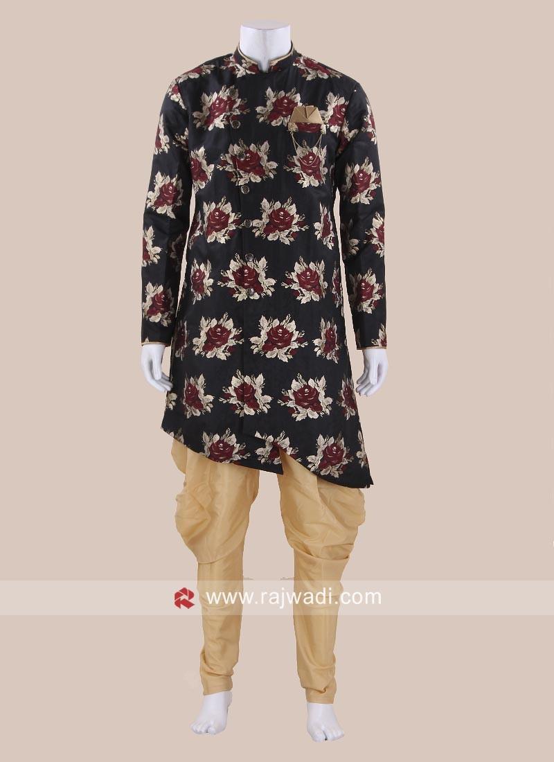 Flower Print Art Silk Patiala Set