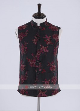 flower print black cotton silk nehru jacket