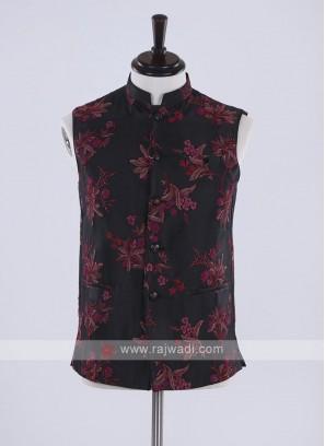 flower print black cotton silk koti