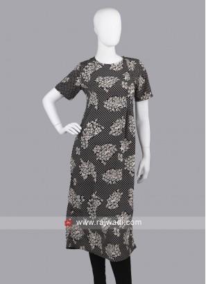Flower Print Black Tunic