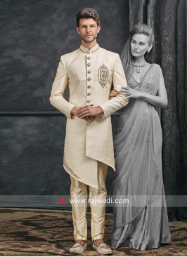 Cream Brocade Silk Indo Western