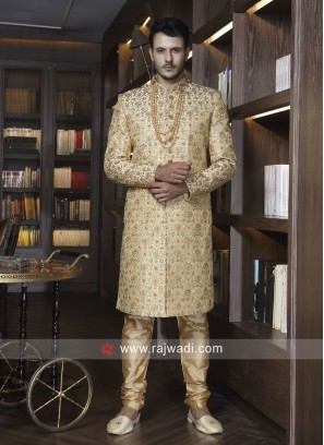 Golden Art Silk Sherwani For Wedding