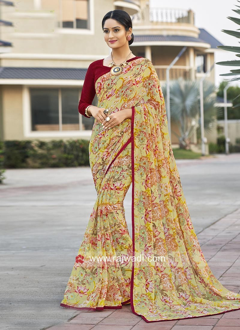 Flower Print Casual Saree with Piping Border
