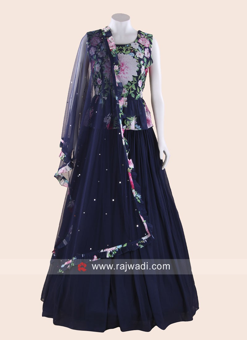 Flower Print Choli Suit with Dupatta