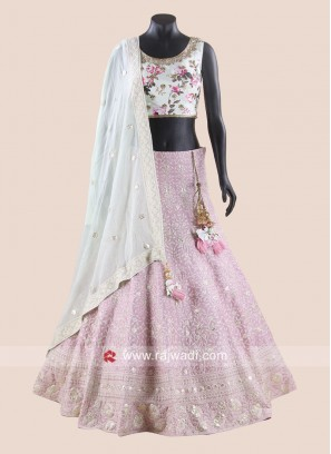 Flower Print Choli Suit with Dupatta