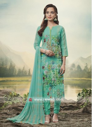 Flower Print Churidar Suit