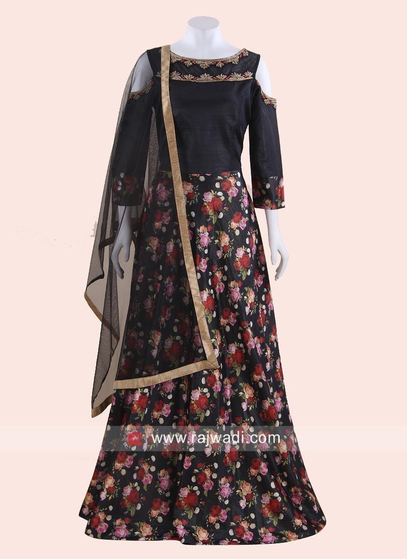 Flower Print Cold Shoulder Salwar Suit