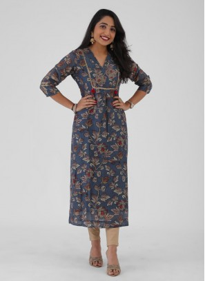 Flower Printed Cotton Silk Kurti In Blue Color