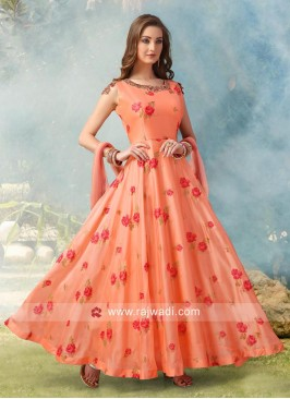 Flower Print Crepe Silk anarkali in Peach